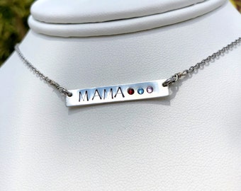Thank you mom- mama sterling silver necklace with birthstones