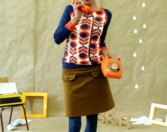 """Sporty long sleeve """"MARIKKA"""" in orange-blue"""