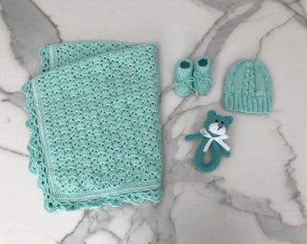 Mint Green Knitted Blanket with Hat, Booties, and Rattle