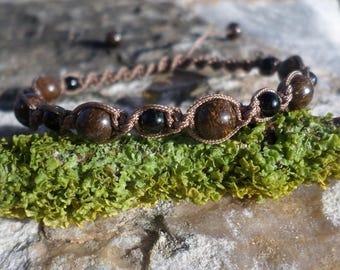 """Serenity"" bronzite beads and black tourmaline bracelet"