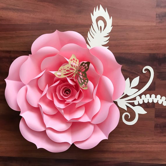 pdf petal 93 rose paper flower template diy trace and cut