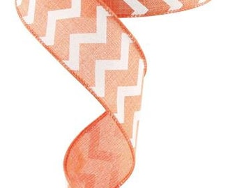 1.5 coral and white chevron ribbon, ribbon by the roll, wired edge ribbon, wired ribbon, wired ribbon by the roll, ribbon
