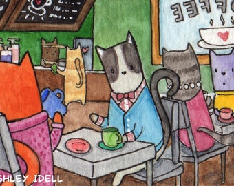 "2""x3"" Kitty Coffee Shop II, Framed, Original Watercolor Painting"
