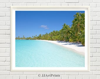 Tropical beach printable photo, palm trees print, ocean, sea, tropical beach print, printable beach photo, exotic landscape download