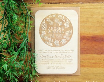 Wedding invitation - Timber wedding invitation - Tropical Beach Design - Pack of 10