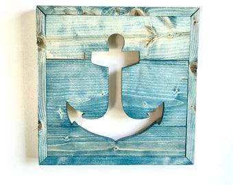 Framed Wood Anchor Cutout / Custom Handmade Wall Decor / Beach / Nautical