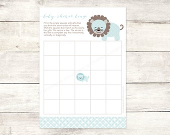 baby shower bingo game card printable DIY lion blue grey brown cute baby boy digital shower games - INSTANT DOWNLOAD