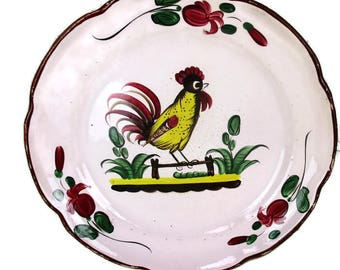Antique French Faience Strasbourg Platter Decoration old Luneville Rooster HTF