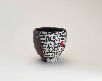 "Handcrafted Porcelain Yunomi ""Ohata Scrawl v.2,"" Ready to Ship, Wheelthrown Yunomi, Red and Black Whiskey Cup"