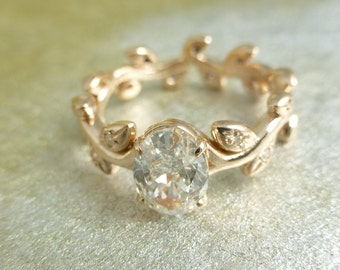 Floral engagement ring. 14k yellow gold.  Natural organic ring.  White sapphire ring.