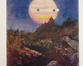 1920 Antique Astronomy Print, Planet Jupiter and Moons, Jovian Landscape, Astronomical Print, Colour Lithograph