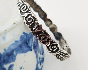 Floral Silver Bangle bracelet 900 silver jewelry FN silver bracelet bangle size 8 1/2 silver bangle   - 2460