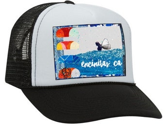 NEW Trucker Hat, Jaysea Slide Encinitas CA, limited ed. w/pin back, Aloha,Beach, Surf, Hawaii, One Size Fits All, flowers, surfer, waves