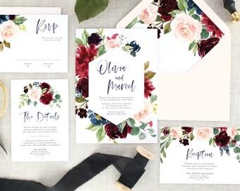 Burgundy Wedding Invitations, Fall Wedding Invites, Winter Invitation Suite Printed,  Floral, Navy Blue, Marsala, Rustic, Modern, Set of 10