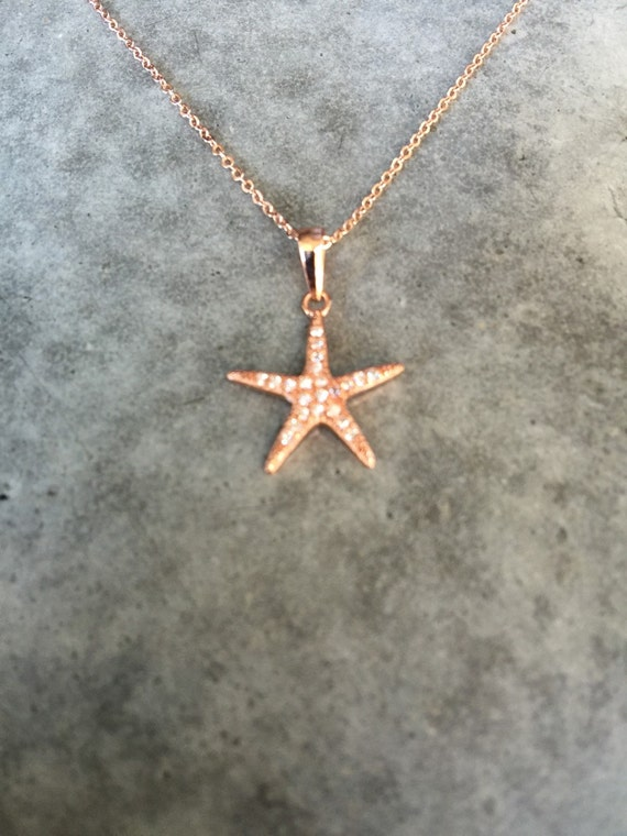 Rose gold star fish necklace, beach wedding, beach necklace, Santa Barbara, Bijou Limon, star fish necklace
