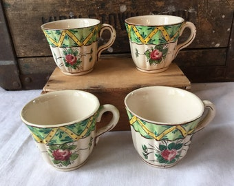 Vintage Hand Painted Italian Demitasse / Expresso Cups / Signed A.D.