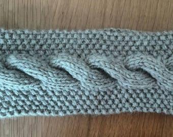 100% Merino Wool beige twist headband