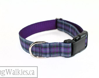 """Pride of Bannockburn Tartan Dog Collar - 1"""" (25mm)Wide - Purple Plaid - Choice of style and size - Martingale Dog Collars or Quick Release"""