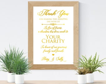 In Lieu Of Favors Sign, Wedding Favors Sign, Gold Foil Wedding Signage, Wedding Donation Sign, Charity Donations Favor Table Signs
