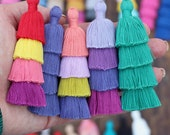 """Tiered Tassels New SPRING Colors, 3"""" Handmade Cotton Tassel for Earring/Necklace Making, Jewelry DIY, Ombre Colors, Layered Tassels, 1 piece"""