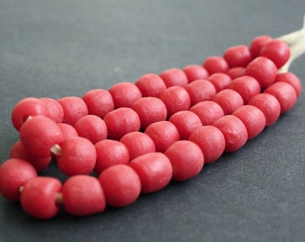 Red African Beads, Recycled Glass, Ghana Krobo  Round, 10-11 mm, One Strand of of 22