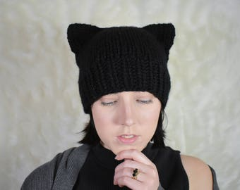 black cat ear beanie - knit cat ear beanie - neko hat - neko ears