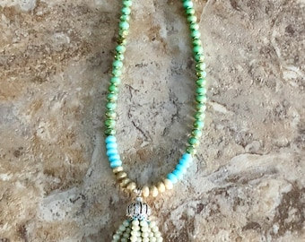 Picasso Glass Beaded Tassel Necklace