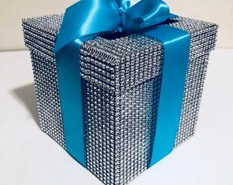 Rhinestone blue ribbon money box! Wedding money box !  Aqua Malibu wedding box with ribbon bow! Personalized color ribbon! Rhinestone art!
