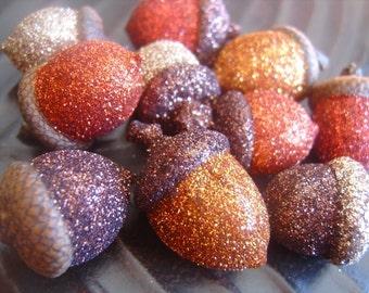 Autumn Glittered Acorns