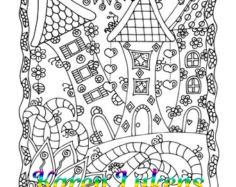 Happy Homes, 1 Adult Coloring Book Page, Printable Instant Download