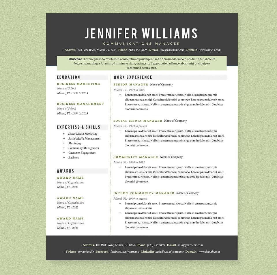 Currículum profesional carta y paquete de la plantilla de