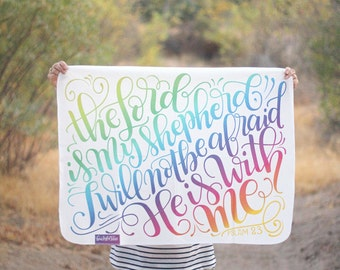Swaddle - The lord is my shepherd, I will not be afraid - Baby Swaddle -  PSLAM 23 - Rainbow baby - Organic cotton & fleece baby swaddle