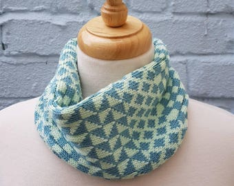 Knitted Geometric Cowl/Snood made from Organic Cotton - Seafoam and Mint Green, mod, sustainable, gift for mum, cycling, mothers day