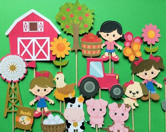 Farm animals cupcake toppers, 19 or 10 farm animal cupcake toppers, farm toppers, toppers farm animals, Cow, Pig, Hen, dog, farm party