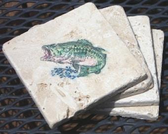 Jumping Salmon Coasters- Set of 4