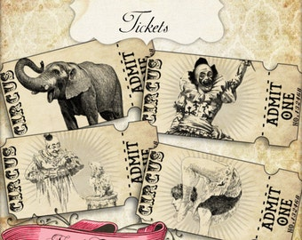 Circus Ticket Strips, Vintage Carnival Tickets, Circus Party, Printable Tickets, Vintage Circus, INSTANT DOWNLOAD