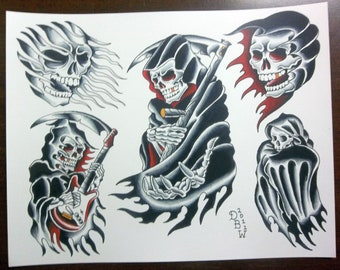 Grim Reapers: Traditional Tattoo Flash Sheet