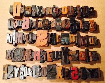 100+ Antique Vintage Wood Mixed Font Size LETTERPRESS Print Type Block ALPHABET Letter Number Lot