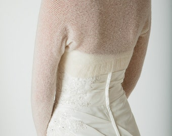 Wedding Bolero knitted with only two seams the perfect match for your wedding dress in white, off white, ivory and other colours