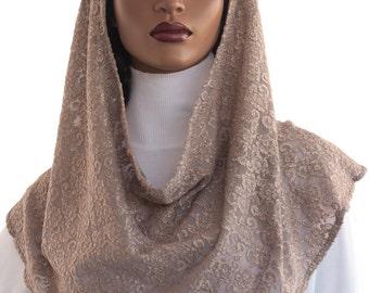 Koul SHôl™ Head Hoodie Cowl Head Hoodie Veil Beige Floral Lace Knit New Style Hoodie Veil Hijab Accessory Handmade
