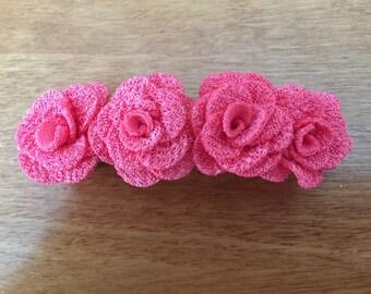 Pink rose barrette