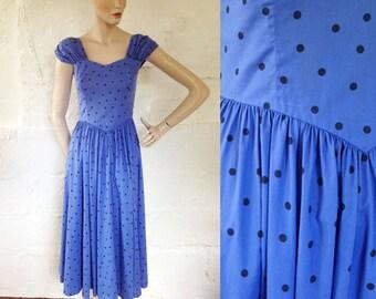 1950s Style 'Laura Ashley' Blue Eyed Baby Polka Dot Dress / 50s Style Day Dress / Vintage Blue Dress