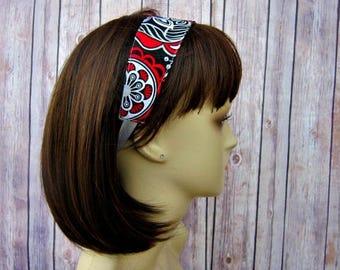 Reversible Headband - Headband for Women - Adult Headband - Womens Headband - Handmade Fabric Headband - Flowers and Gray Tonal