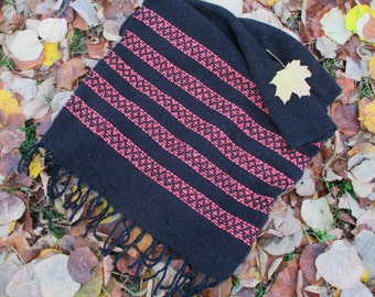 Black Hand Woven Scarf - Long Handmade Scarf - Black Shawl with Red Ornament - Scarf with Fringe - Winter fashion