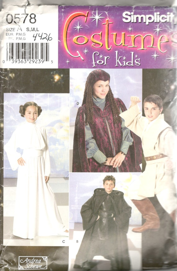 Simplicity 4426 0578 Boys Girls STAR WARS Costume Pattern Leia
