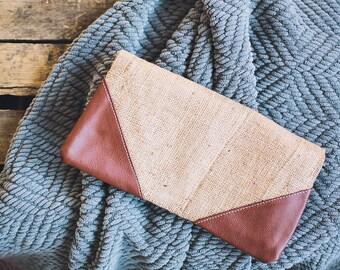 Burlap Fold-Over Clutch