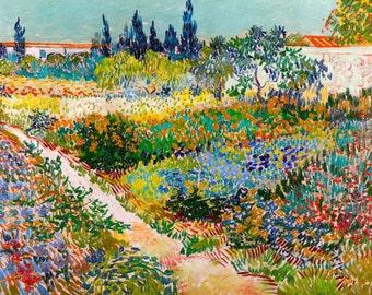 Vincent van Gogh 1889, Garden at Arles, HD Canvas Print or Art Print, Artwork Wall Poster Impressionism Print on Canvas Van Gogh Flowers