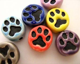 4 Tiny Dog Paw Beads - mixed colors - CB695