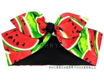 Fruity Tropical Watermelon Rockabilly Vintage 1950's Inspired Reversible Head Scarf Hair Tie Headscarf Hair Bow by Miss Cherry Makewell