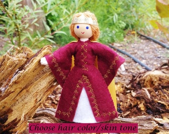 Natural  Handmade Waldorf Inspired Dollhouse Family Queen Doll - Bendy Doll
